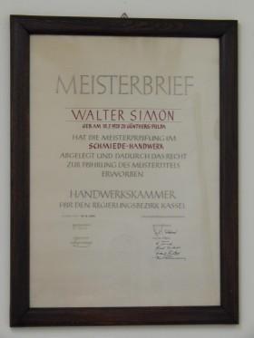 Meisterbrief Walter Simon