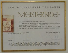 Meisterbrief Bernhard Simon