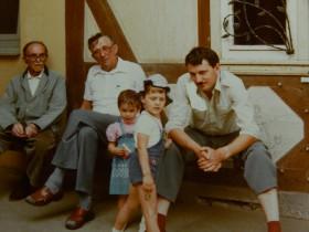 1982 - Das letzte Foto von Rudolf Simon (ganz links), dann: Günther Woditsch, Daniela, Christian und Bernhard Simon